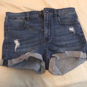 PacSun high rise distressed denim shorts